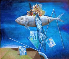 blue - fish - painting -  Stoimen Stoilov - Стоимен Стоилов