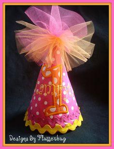 PERSONALIZED Birthday Hat  Hot Pink Orange by Designsbyflutterbug, $20.95