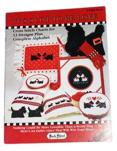 Vintage Scotty Scottie Dog Cross Stitch Patterns Book Plaid It's Scot to be Love