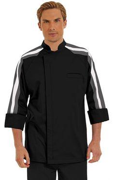 Men's Racing Stripe 3/4 Raglan Sleeve Coat - Hidden Zipper Front - 65/35 Poly/Cotton Style #  795512  #chefuniforms #menschefwear #chef #coat #chefcoat