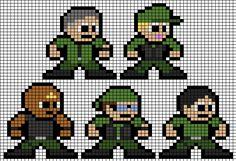 Stargate; SG-1 Team Perler Bead Groups Perler Bead Art, Perler Beads, Stargate, 8 Bit, Pixel Art, Star Trek, Crochet Projects, Cross Stitch, Tv