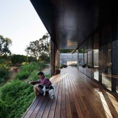 Sawmill House is a reclaimed-concrete home for a sculptor on an old Australian gold mine