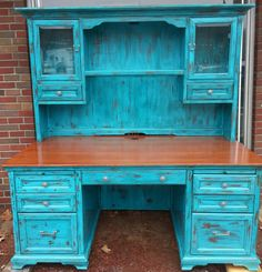 "Rustic Turquoise Desk from ""Creating the Perfect Home Office: Choosing a Desk"" Rustic Desk, Rustic Office, Rustic Shelves, Rustic Furniture, Furniture Ideas, Rustic Cafe, Rustic Modern, Rustic Kitchen, Rustic Farmhouse"