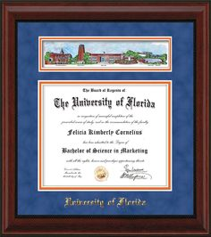 university of florida diploma frame mahogany bead wuf embossed school name only campus collage royal blue suede on orange mat - Diploma Frame Size
