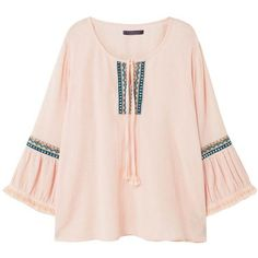 Embroidered Boho Blouse (85 AUD) ❤ liked on Polyvore featuring tops, blouses, bohemian blouses, pink bow blouse, embroidered cotton blouse, bow tie blouse and fringe blouse