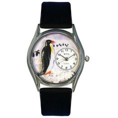 Whimsical Womens Penguin Black Leather Watch