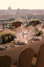 Deluxe 5 Stars Hotel On The Spanish Steps: Table Set Up on the Floor Panoramic Terrace Hotel Reception, Table Set Up, 5 Star Hotels, Rome, Terrace, Spanish, Table Settings, Floor, Stars