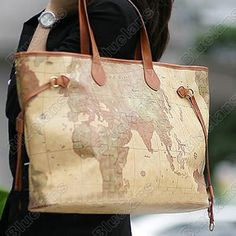 Alviero martini leather map bag authentic alviero martini prima vintage world map faux pu leather tote shoulder bag handbag shoppers purse gumiabroncs Images