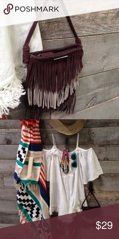"""Roxy Magic Fringe Purse ✨ New ✨                                                                Super enchanting, the Magic bag casts a spell with its cross body design and sassy fringe. Never used. Cute as a button!                                  🎀 7 x 8 body + 24"""" strap.                                       🎀 100 % cotton body & Genuine Suede Fringe! Roxy Bags Crossbody Bags"""