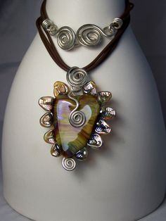"""Flameworked """"petal heart bead"""" with sterling silver"""