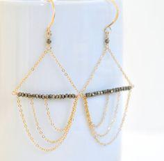 Pyrite Earrings Gold Filled Earrings Asymmetrical by dianafakhoury, $98.00
