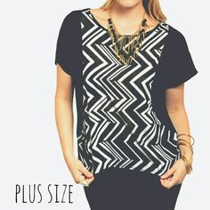 PLUS Chevron Top Features hi-low hem with chevron print. Black is a soft poly blend that feels like cotton and print is a poly blend that feels like silk! Very flattering! NEW!! SIZES 2X 3X Tops