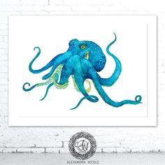 Blue Crab Watercolor Art Print, Coastal Art and Beach Decor Octopus Painting, Octopus Wall Art, Octopus Print, Octopus Octopus, Octopus Decor, Octopus Tattoos, Blue Painting, Watercolor Print, Watercolor Paintings