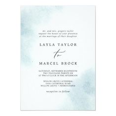 Watercolor Wash Blue Traditional Wedding Invite with a simple splash of pastel light blue water color with elegant and classic style. Click to customize with your personalized details today.