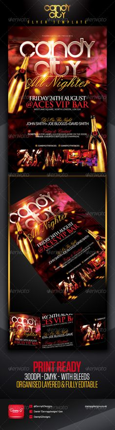 Candy City Flyer Template Certainly Brings You The Ultimate VIP Feel With Dark But Vibrant Colours This Will Cert