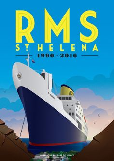 RMS St Helena Souvenir Poster by BemmiesBazzar on Etsy