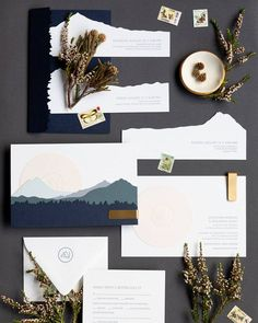 Think beyond the traditional vertical invitations and opt for east-west wedding stationery. Mountain Wedding Invitations, Spring Wedding Invitations, Wedding Stationary, Modern Invitation Suites, Invitation Design, Modern Invitations, Invitation Ideas, Invitation Cards, Wedding Paper