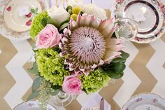 Vintage and lace protea loose organic wedding centerpiece