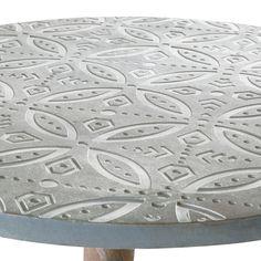 Table basse ronde effet béton motifs blancs | Maisons du Monde