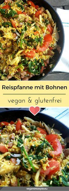 Reispfanne mit Bohnen, Spinat und Pilzen. Oder einfach: Paella für Anspruchslose. #vegan #glutenfrei #reis #bohnen #reispfanne #rezept #veganrezept #veganfood