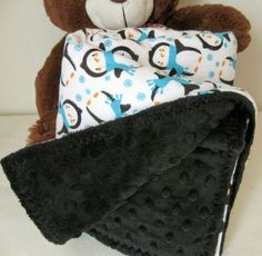 Minky and Flannel Penguins  Baby Blanket by CallieZoey on Etsy, $27.50