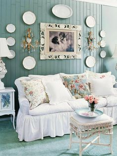 shabby chic with a fresh twist - love this color on the wall