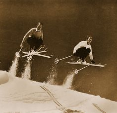 Vintage Ski Photo - Two Skiers Jumping | VintageWinter