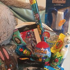 Your place to buy and sell all things handmade Boys Easter Basket, Easter Baskets, Pokemon Snacks, Big Basket, Bubble Wands, Pea Pods, Bunny Plush, Blue Bow, Candies