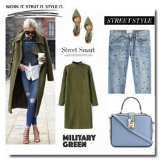 """""""Beautiful in military green and blue"""" by cinnamonrose30 ❤ liked on Polyvore featuring Dolce&Gabbana, Current/Elliott and Steve Madden"""