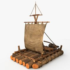 Raft Model available on Turbo Squid, the world's leading provider of digital models for visualization, films, television, and games. Wooden Art, Wooden Crafts, Wooden Toys, Handmade Home, Handmade Wooden, Wood Projects, Woodworking Projects, Sailboat Decor, Cool Gadgets For Men