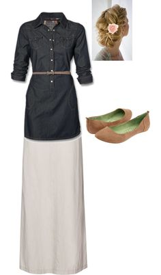 """""""Modest Outfit 27"""" by christianmodesty ❤ liked on Polyvore  (Yay, for modesty!)  Change the accessories to a Type 4 color and then it'd be perfect."""