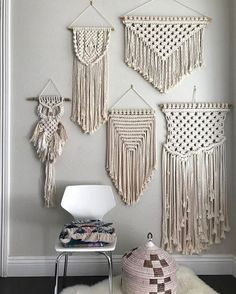 This boho Macrame wall hanging brings the boho vibe into your home! Each Macrame is handmade and is knotted into this beautiful bohemian inspired pattern. macrame handmade boho home decor wallart Art Macramé, Macrame Curtain, Macrame Wall Hangings, Arts And Crafts, Diy Crafts, Macrame Design, Macrame Projects, Macrame Patterns, Macrame Knots