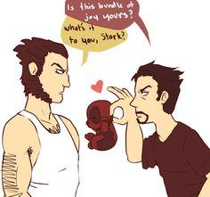 Wolverine, bebby Deadpool, and Stark