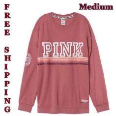 Victoria's Secret 💙 PINK 💙 Campus Print Graphic Pullover Soft Begonia, Medium #VictoriasSecret #SweatshirtCrew