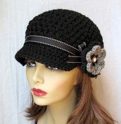 Crochet Newsboy Hat Black Ribbon Flower Gray by JadeExpressions