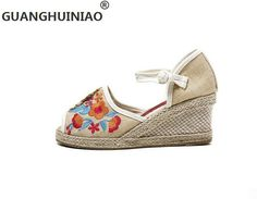 Cotton-made beijing shoes women's shoes national trend wedges female embroidered shoes open toe sandals dance high-heeled shoes