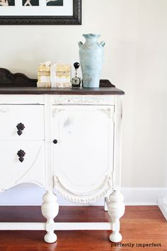 antique buffet....love the white with the black top!!!  do this to mine.....for living room