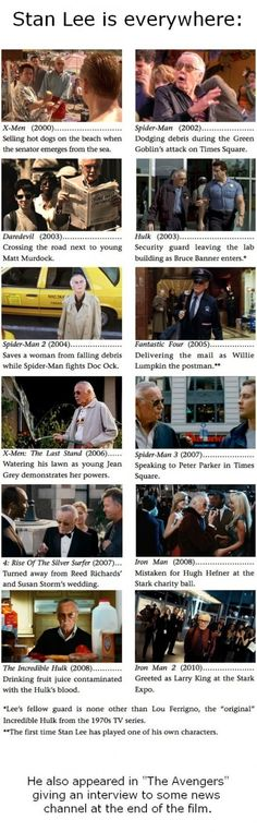 Stan Lee In His Epic Creations (Marvel Movies)   Seriously he has the BEST cameos   Dont forget: Thor - driving truck trying to rip the Hammer from stone;   and my absolute FAVORITE: Spider man (2012)  I'm not going to say it because its my favorite scene in the whole dang film