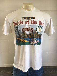 d2a3ffc99 BATTLE Of The BAY Vintage Shirt 1989  World Series San Francisco Giants  Oakland Athletics Baseball MLB Tshirt Soft   Thin! UsA X-Large