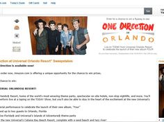 """Enter the Amazon.com """"See One Direction at Universal Orlando Resort"""" Sweepstakes for a chance to win a 4-day/3-night trip for two to Orlando, FL!"""