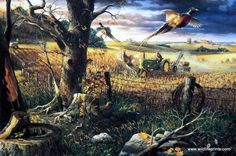 Pheasant are flushed out of a field ahead of a John Deere tractor in Charles Freitag's farm print AUTUMN HARVEST. Charles Freitag tries to recreate his memories of childhood on the farm. This print is