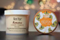 Two of my favorite beauty must haves! Ahhh.. LOVE this stuff! (Ben Nye Banana Powder and AirSpun Powder)