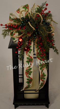 Christmas Lantern Swag with Burlap Ribbon by TheRustyHeart on Etsy