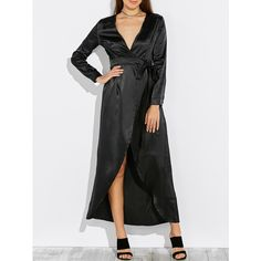 Satin Long Sleeve Wrap Romper Maxi Dress (41 BAM) ❤ liked on Polyvore featuring dresses, maxi length dresses, satin maxi dresses, longsleeve dress, satin wrap dress and maxi dresses