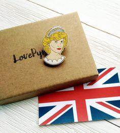Princess Diana wooden pin Princess of Wales Diana by LovePyramid
