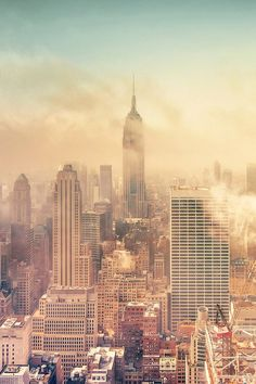NYC. When fog lifts away from the city