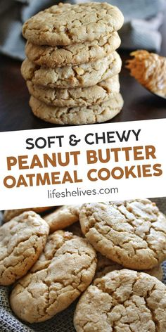 Soft and chewy peanut butter oatmeal cookies are a delicious dessert that is per. Soft and chewy peanut butter oatmeal cookies are a delicious dessert that is perfect for a bake sale, family g Classic Peanut Butter Cookies, Butter Chocolate Chip Cookies, Peanut Butter Recipes, Lactation Cookies Recipe Peanut Butter, Peanut Butter Oatmeal Bars, Peanut Cookies, Peanut Butter Balls, Healthy Oatmeal Cookies, Oatmeal Cookie Recipes
