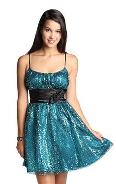 sequin homecoming dress satin flower belt Deb shops