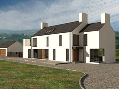 We have built many houses under planning NI getting planning permission and building control approval. Certified Passive house and zero carbon house Modern Bungalow House, Rural House, Barn House Plans, Cottage House Plans, House Built Into Hill, Rendered Houses, House Designs Ireland, White Exterior Houses, Long House