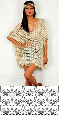 Crochet dress chart pattern by tammie – Artofit The scheme of summer crochet knitting tunicsThis Pin was discovered by Blouses Cardigan To Not Miss - Luxe Fashion New TrendsDiscover recipes, home ideas, style inspiration and other ideas to try. Pull Crochet, Gilet Crochet, Mode Crochet, Crochet Tunic, Crochet Basics, Crochet Clothes, Crochet Lace, Diy Clothes, Crochet Dresses
